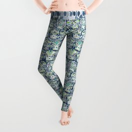 Indigo CARPE DIEM SKULLS Watercolor Leggings
