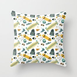 Skate life pattern Throw Pillow