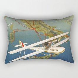 Vintage 1920s Island plane shuttle Italian travel Rectangular Pillow