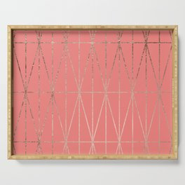 Modern geometric triangles faux rose gold coral pattern Serving Tray