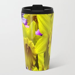 YELLOW SPRING DAFFODILS & LILAC PANSIES COLOR ART Travel Mug