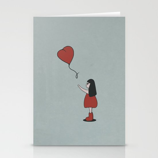 Girl with a Heart-Shaped Balloon Stationery Cards
