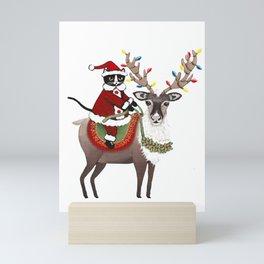 Santa Claws and Reindeer 2 Mini Art Print