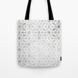 Modern silver stars geometric pattern Christmas white marble Tote Bag