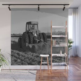 Black & White Harvesting Equipment Pencil Drawing Photo Wall Mural