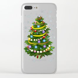 Christmas tree & snow Clear iPhone Case