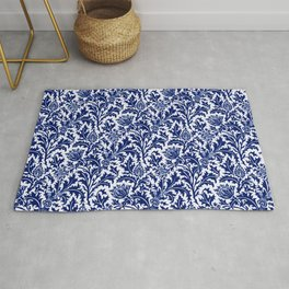 William Morris Thistle Damask, Cobalt Blue & White Rug