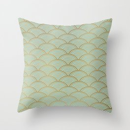 Japanese Art Prints: Seigaiha Wave, Geometric Art in Mint Green and Gold Throw Pillow