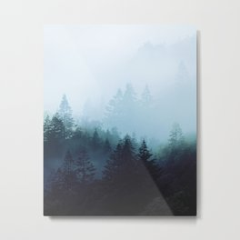 Welsh Trees In The Mists Metal Print