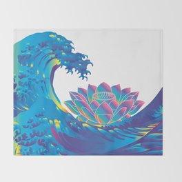 Hokusai Rainbow & Lotus Throw Blanket
