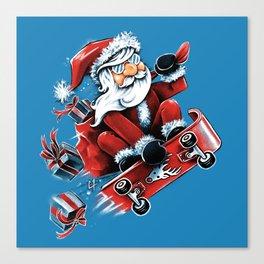 Santa Skateboarding Canvas Print