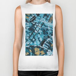 Turquoise and Gold Abstract Painting Biker Tank