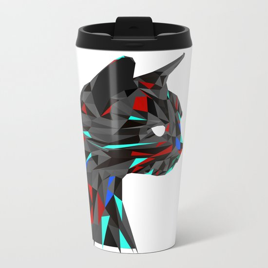 Focused Cat Metal Travel Mug