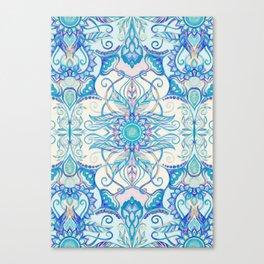 Teal Blue, Pearl & Pink Floral Pattern Canvas Print