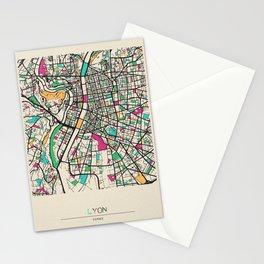Colorful City Maps: Lyon, France Stationery Cards