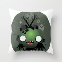 zombie Throw Pillows featuring Zombie by Maria Jose Da Luz