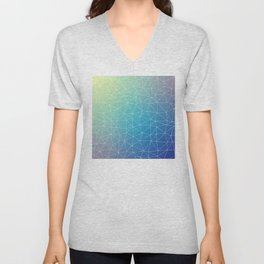 Abstract Blue Geometric Triangulated Design Unisex V-Neck