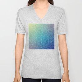 Abstract Blue Geometric Triangulated Design Unisex V-Neck