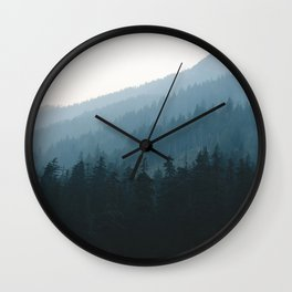 Hazy British Columbia Mountains Wall Clock