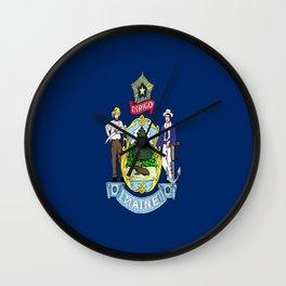 flag maine,america,usa,pine tree,vacationland, mainer,new england,portland,brunswick,lewiston Wall Clock