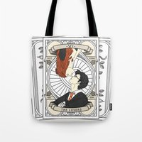 harry potter Tote Bags featuring Harry Potter Tarot by Luke Eckstein