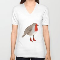 robin V-neck T-shirts featuring Robin by Hana Stupica