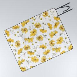 Yellow Cosmos Flowers Picnic Blanket