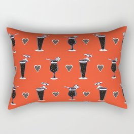 Tropical Cocktails Glass Seamless Vector Pattern, Drawn Bar Rectangular Pillow