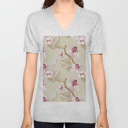 Orchid realistic print Unisex V-Neck