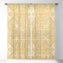 Lotus Mandala - Sunny Yellow Sheer Curtain