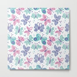 pink, teal and blue butterflies Metal Print