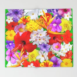 Exotic Flowers Colorful Explosion Throw Blanket