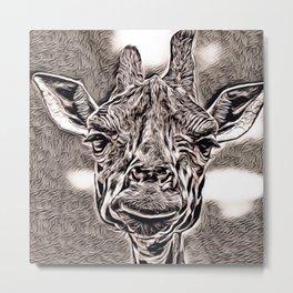 Rustic Style - Giraffe Metal Print