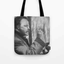 Theodore Roosevelt making a speech, 1902 - Drawing, Black and White Tote Bag