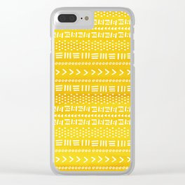Yellow Boho Stripes Pattern Clear iPhone Case