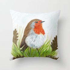 Robin with Oakleaves Throw Pillow