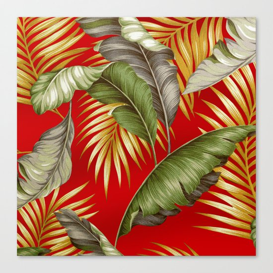 HAWAIIAN GARDEN TROPICAL LEAVES | tomato red gold Canvas Print