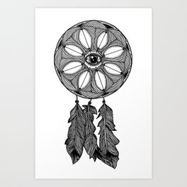 All-Seeing Eye Mandala Dreamcatcher Print Art Print