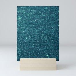 Blue Glitter Glitch Mini Art Print