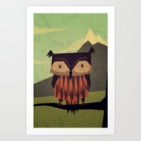 owl Art Prints featuring Owl by Yetiland
