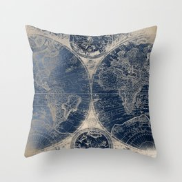 Antique World Map Gold Navy Blue Library Throw Pillow