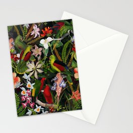 Vintage & Shabby Chic - Black Tropical Parrot Night Garden Stationery Cards