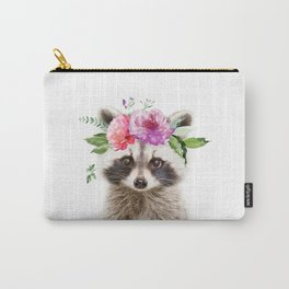 Baby Raccoon with Flower Crown Carry-All Pouch