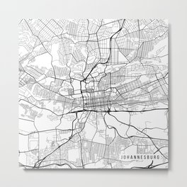 Johannesburg Map, South Africa - Black and White Metal Print