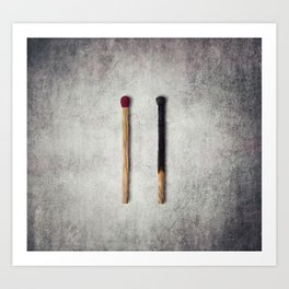 two matches closeup Art Print