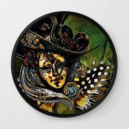 Bauta Mask, Carnival, Venice, Italy Wall Clock