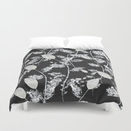 white leaf pattern Duvet Cover