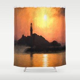 Lighthouse Sunset Impressionism Shower Curtain