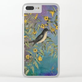 Flycatcher with Carolina Jasmine, Vintage Natural History and Botanical Clear iPhone Case