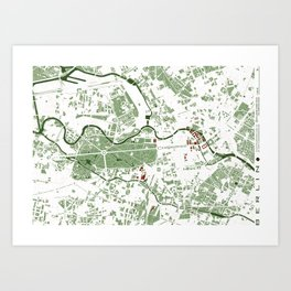 Berlin city map minimal Art Print